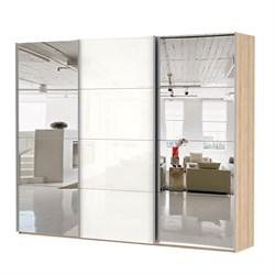 Шкаф-купе Эста 2700/2200/660 с зеркалами и белым стеклом - фото 10306