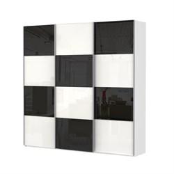 Шкаф-купе Эста 2700/2400/660 с белым и чёрным стеклом - фото 10658