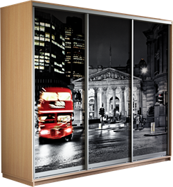 Шкаф-купе Трио 2100/2400/600 (Фотопечать Лондон) - фото 12873